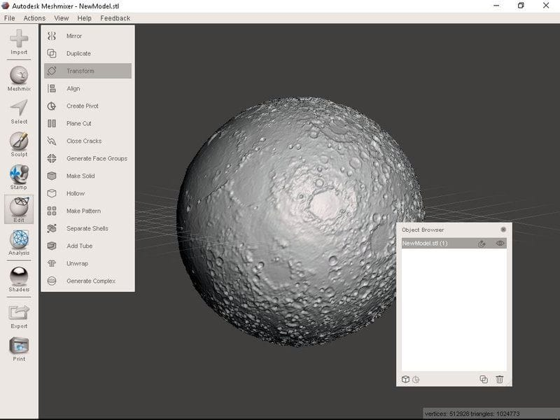Finalizing the Moon 3D model using Meshmixer