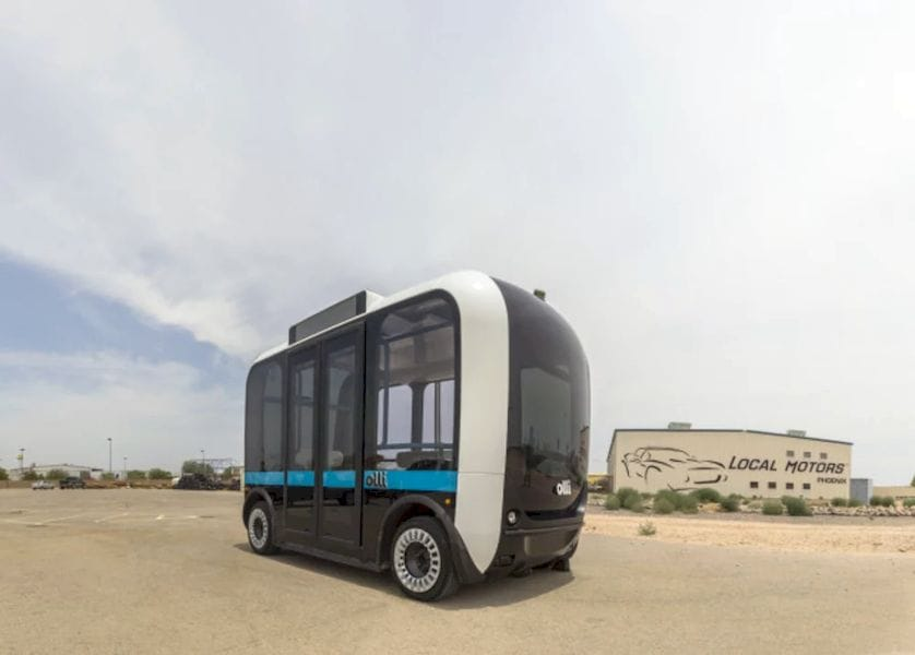 Olli is the first self-driving vehicle featuring the IBM Watson platform. (Image courtesy of Local Motors.)