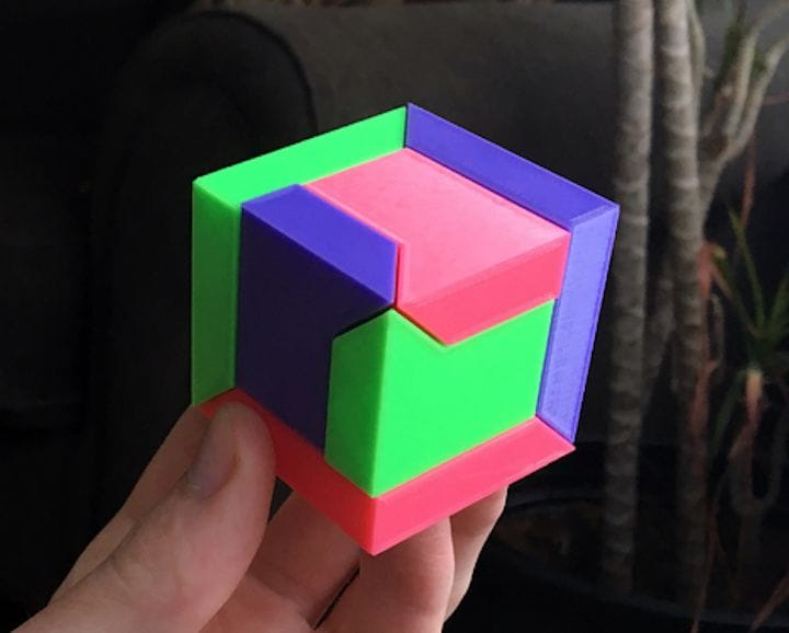 The fully assembled 3D printed Puzzle Cube