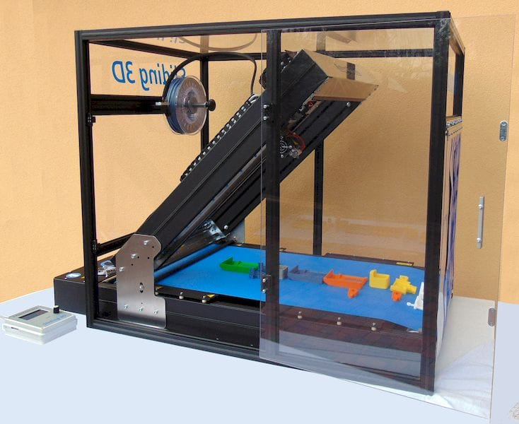 The Sliding 3D printer with optional enclosure
