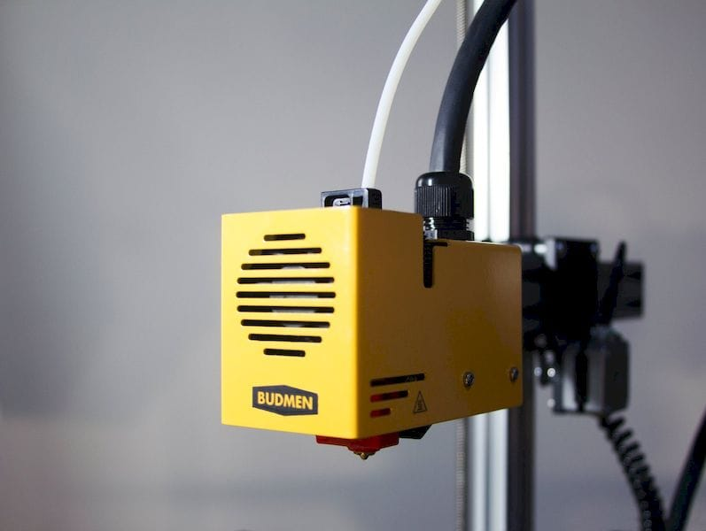 The extruder on the Buildini 3D printer