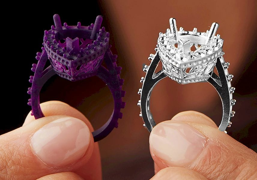 Highly detailed rings made with Formlabs' new castable wax resin