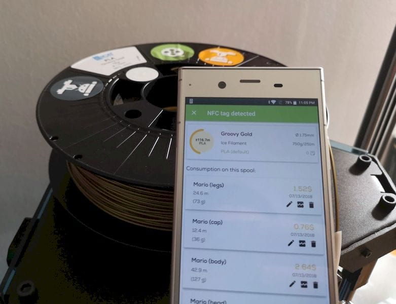 Identifying a stray 3D print filament spool using NFC tags and the RollingUp app