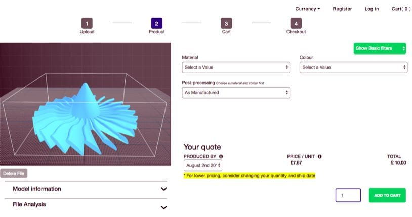 Product pricing window in 3DCompare