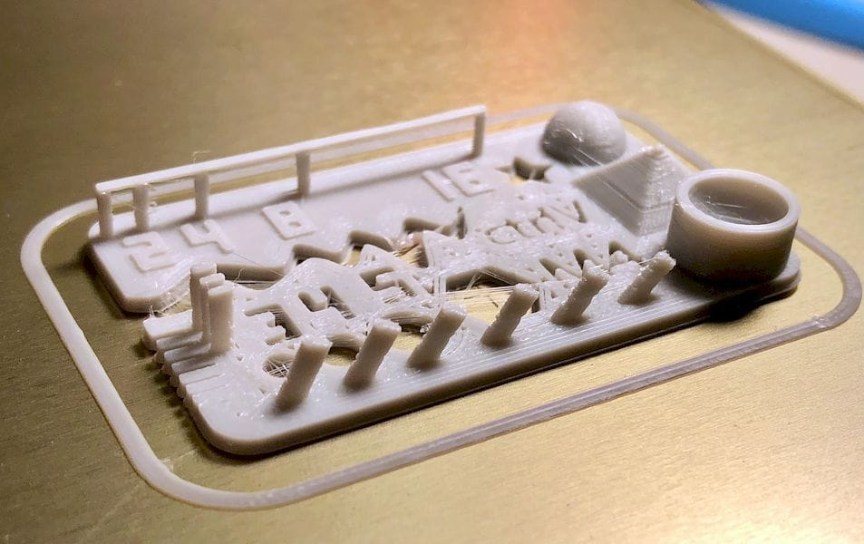 The CTRL-V test, using PLAS3D filament. A little stringing, but all features look pretty decent for this very tiny test [Source: Fabbaloo]