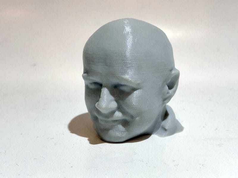 A very smooth 75mm Robert head test, 3D printed with PLAS3D filament [Source: Fabbaloo]
