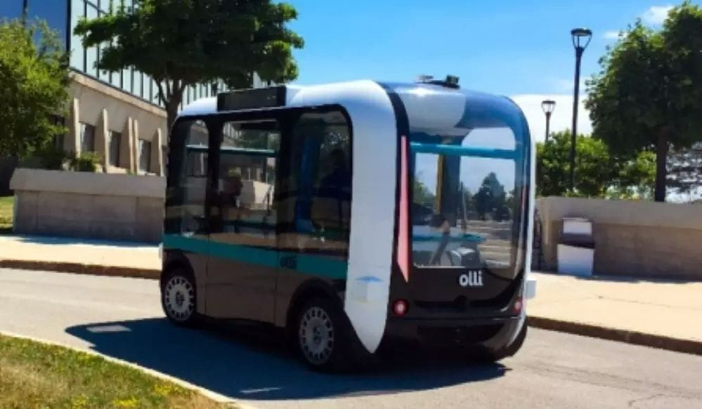 Made with many 3D-printed parts, Olli, the self-driving shuttle, arrives at UB. (Image courtesy of Douglas Levere and University at Buffalo.)