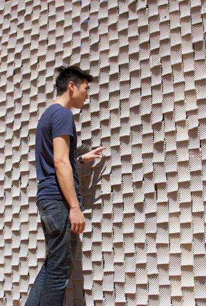 A large wall made from complex 3D printed clay tiles [Source: DeltaBots]