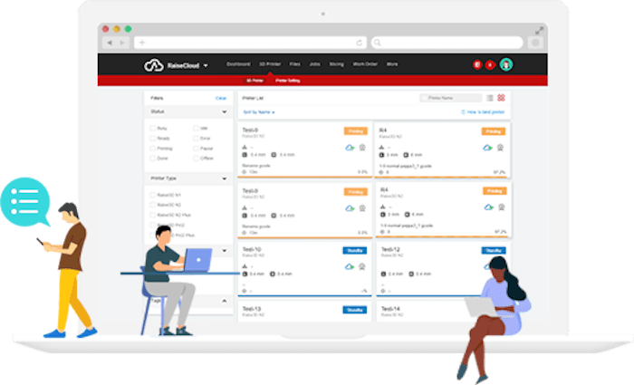 Screenshot of the new RaiseCloud system for managing Raise3D printers [Source: Raise3D]