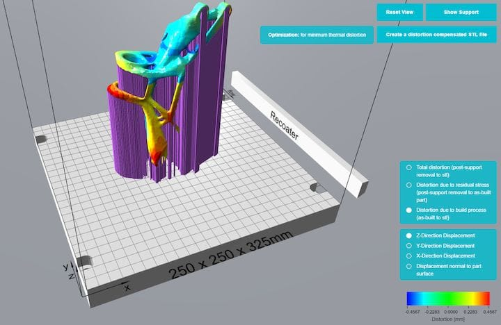 "Sunata analyzes a metal 3D print to determine distortion and offers to ""compensate"" [Source: Atlas 3D]"