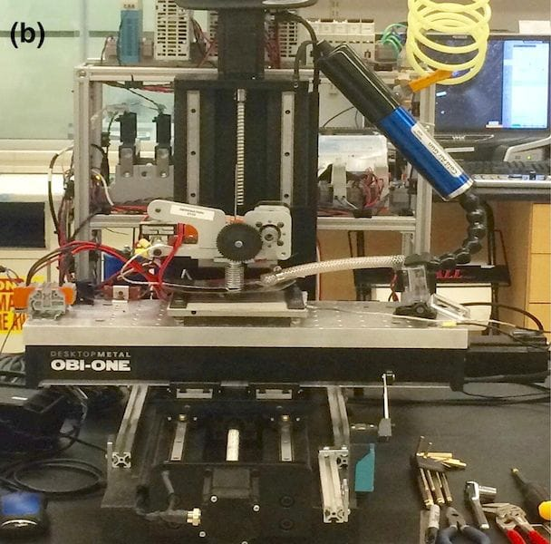 "The experimental ""Obi-One"" 3D metallic glass 3D printer [Source: ScienceDirect]"