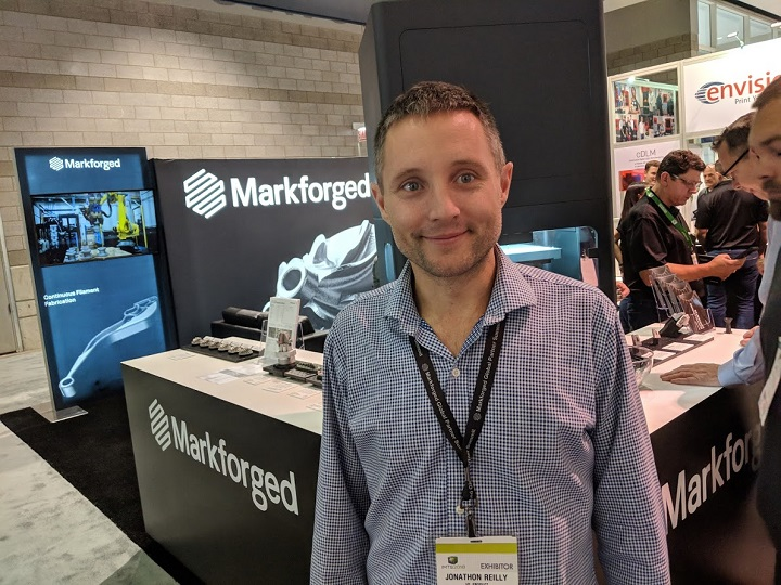 Jon Reilly at the corner of metal and carbon fiber with Markforged