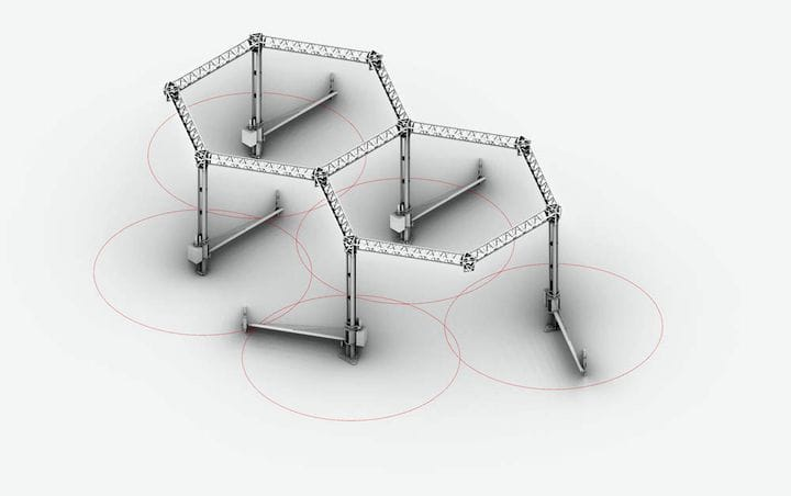 The modular concept of the Crane WASP construction 3D printer [Source: WASP]