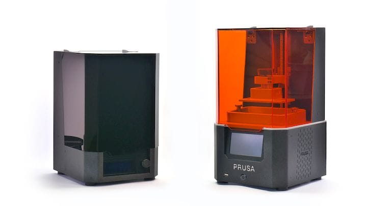 The new Prusa SL1 resin 3D printer, with its associated wash / cure station [Source: Prusa]
