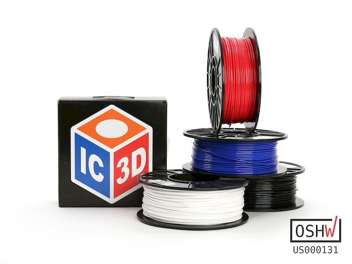 IC3D's open source PETg 3D printer filament, being sold by LulzBot [Source: LulzBot]