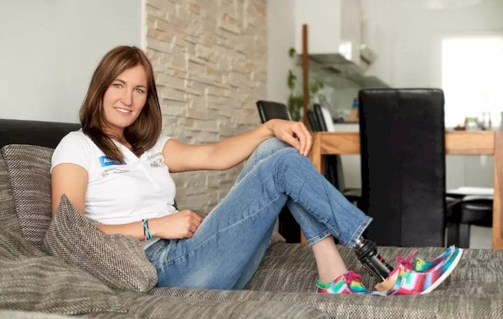 "I'm a woman. I need a lot of shoes,"" Schindler said during the presentation. (Image courtesy of Allianz Deutcheland)"