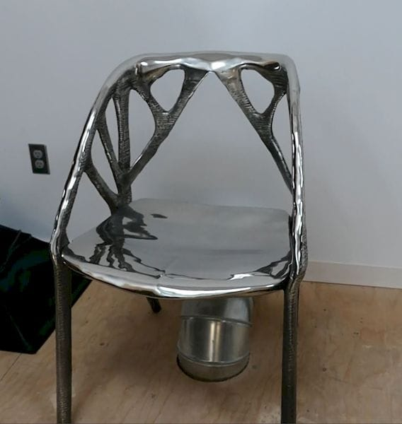 Carl's sweet 3D-printed metal chair. [Source: SolidSmack]