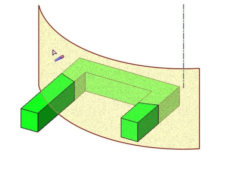 Splitting a face using a curved surface [Source: DesignSpark]