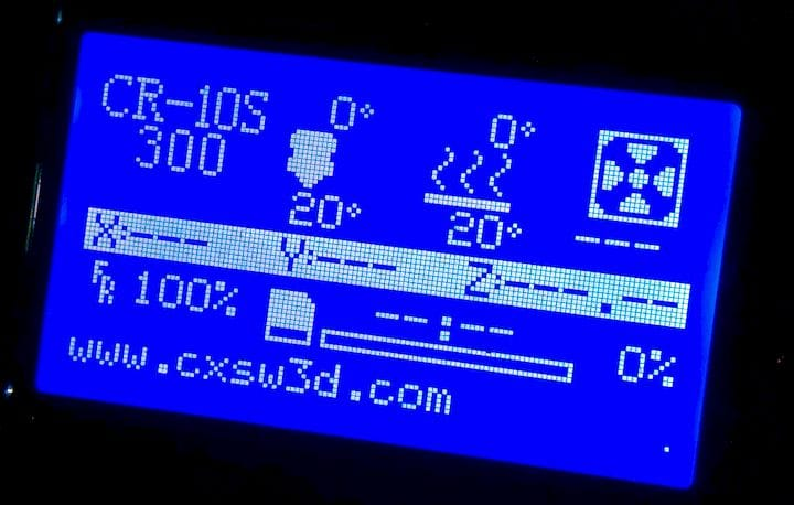 Detail of the LCD panel on the Creality CR-10S desktop 3D printer [Source: Fabbaloo]