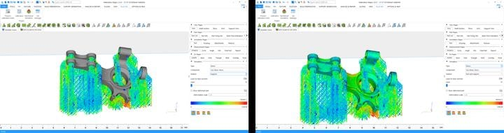 The interface for the simulation module within Magics. On the left, a simulation of the support structures. On the right, a simulation of both the part and the support structures. (Image courtesy of Materialise.)