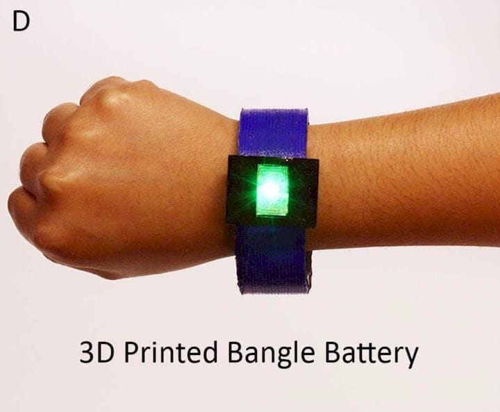 A fully 3D printed bangle - including the battery [Source: ACS]