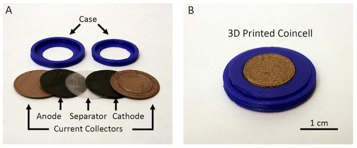 A small battery made from 3D printed components [Source: ACS]