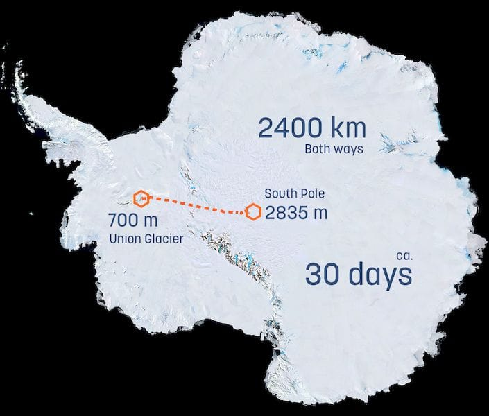 Route to be travelled by the Solar Voyager 3D printed vehicle [Source: Clean2Antarctica]