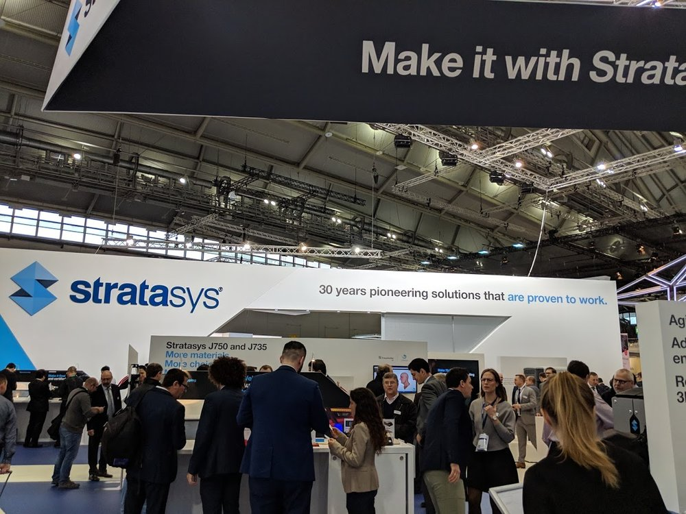 Stratasys' booth drew crowds throughout formnext 2018 [Image: Fabbaloo]