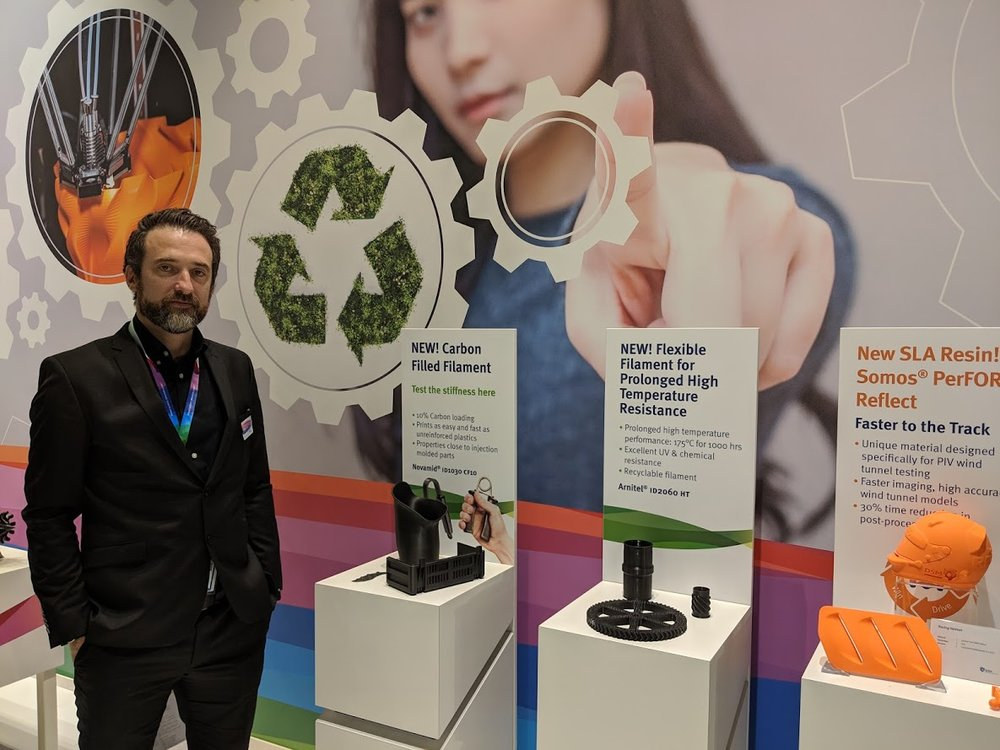 Hugo da Silva, Vice President of Additive Manufacturing, DSM, with new materials at formnext 2018 [Image: Fabbaloo]