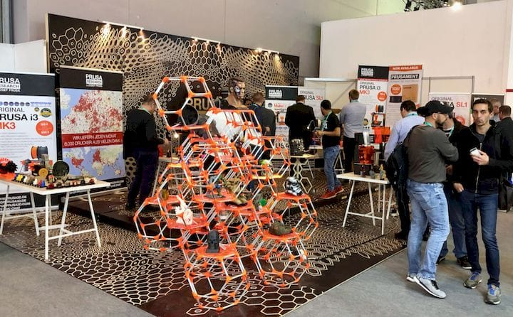 Prusa Printers' modest exhibition stand at formnext 2018 [Source: Fabbaloo]