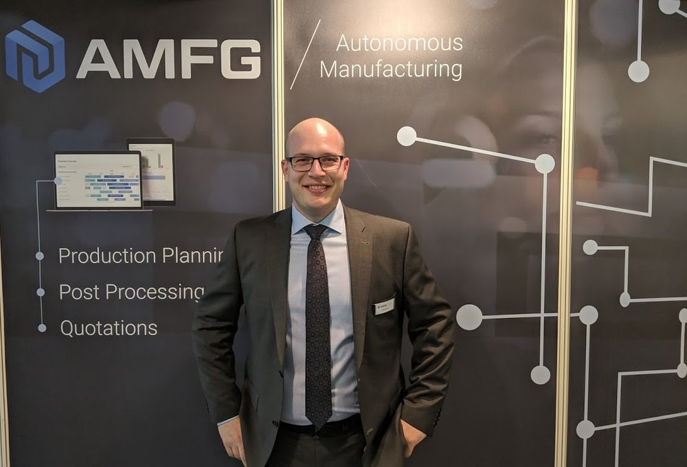Felix Dörr, Head of Business Development, AMFG, at formnext 2018 [Image: Fabbaloo]