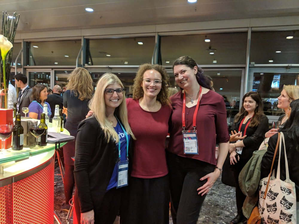 (L-R) Dana, Nora, and Sarah celebrate at the Wi3DP gathering at formnext 2018 [Image: Women in 3D Printing]