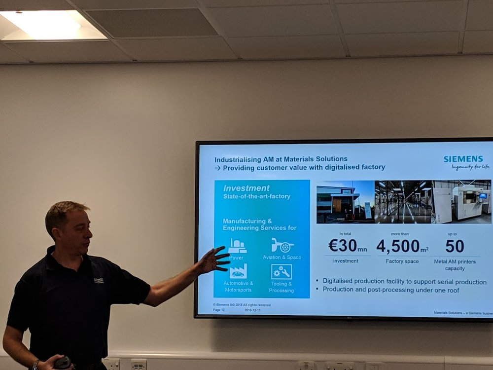 Phil Hatherley, General Manager, Materials Solutions - a Siemens business, sharing a look at the industrialization of additive manufacturing with the new facility [Image: Fabbaloo]