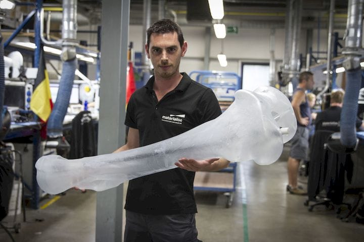 One of 300+ 3D printed bones for a massive Mammoth replica [Source: i.materialise]