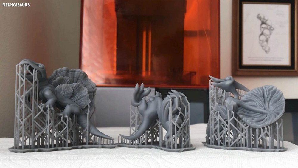 3D printed prototypes of Aiman Akhart's Fungisaurs [Image: Formlabs]