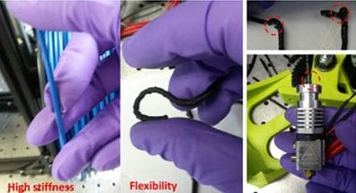 3D print using lignin and nylon, showing both stiffness and flexibility [Source: ORNL]