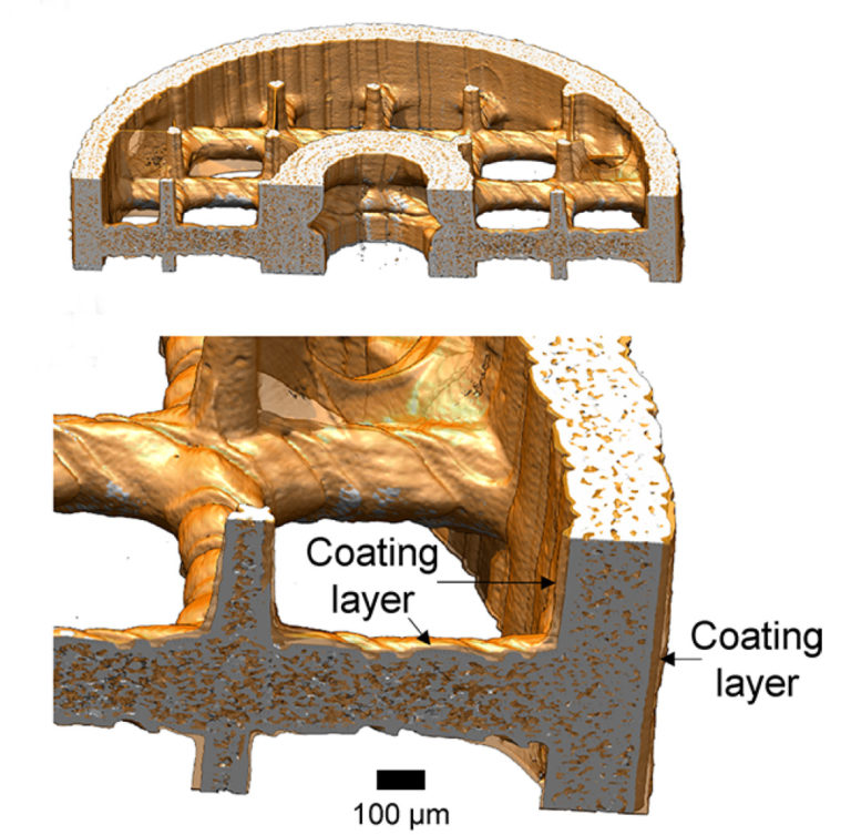 Cross section through absorber, showing crosslinks and ionic polymer coating (orange) [Image: UC Berkeley]