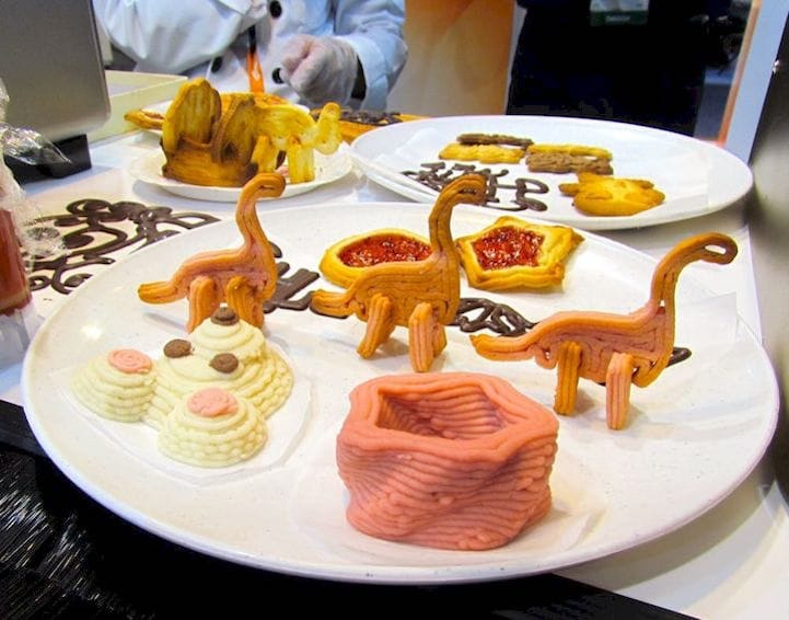 Examples of food 3D prints made by XYZprinting equipment [Source: Fabbaloo]