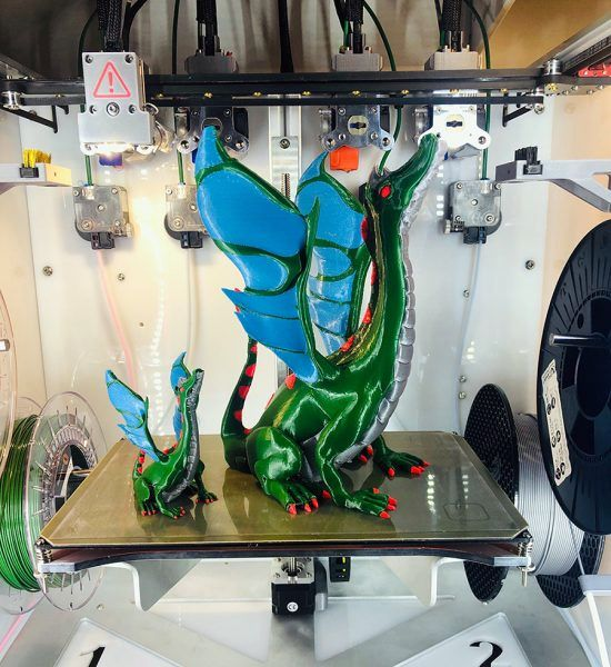 A beautiful multi-color 3D print made with a tool-changing 3D printer [Source: E3D-Online]