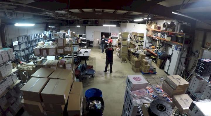 Joel Telling inside Printed Solid's warehouse [Source: 3DPN]