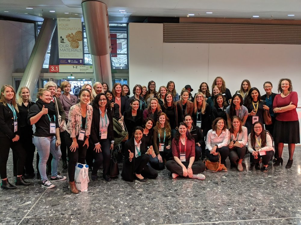 Safe to say there are definitely women in this industry: the Women in 3D Printing networking event at formnext 2018 drew a healthy crowd [Image: Fabbaloo]