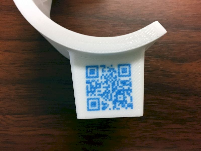 QR code embedded into a 3D printed part by Rize [Source: Fabbaloo]