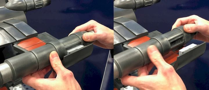 The friction fit design of the parts for the 3D printed X-Wing Fighter [Source: Fabbaloo]