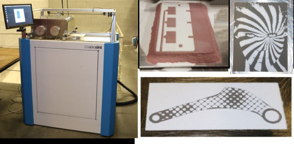 Powder recoater prototype (left). Multi-material powder layers created with the prototype (right) [Image: Aerosint]