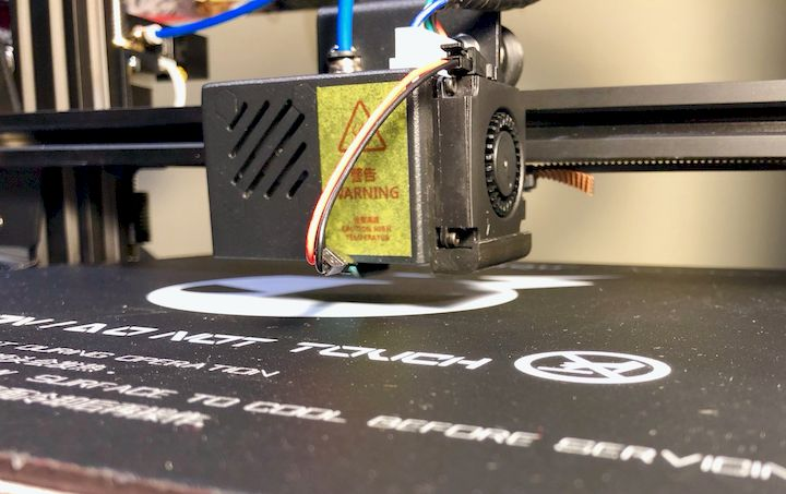 Auto-leveling on the BIQU Thunder desktop 3D printer requires a small attachment [Source: Fabbaloo]