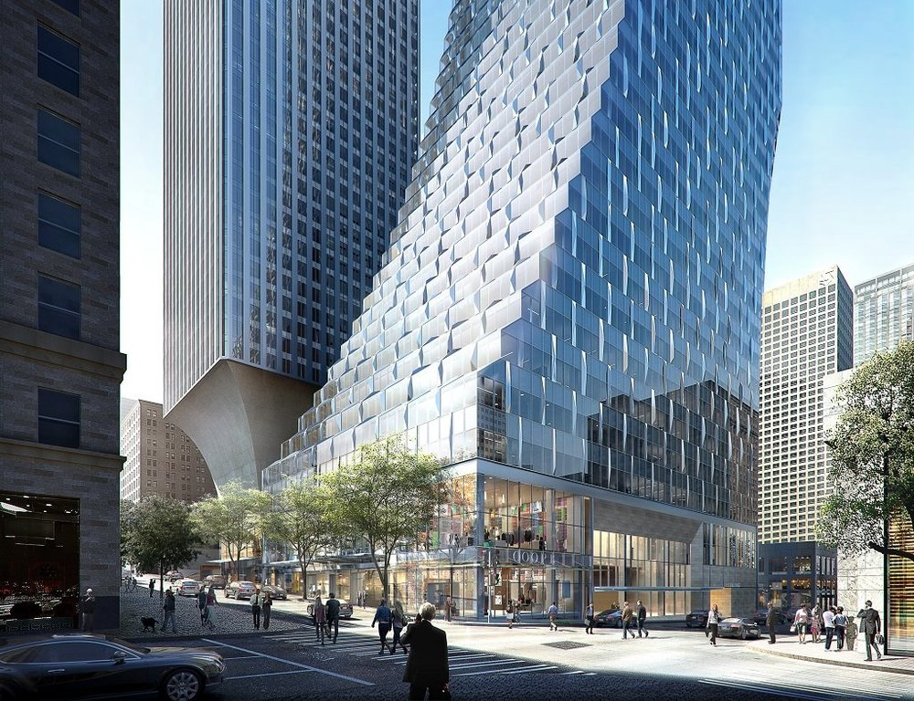 The stepped design makes for a challenging curtain wall design [Image: Rainier Square Tower project]