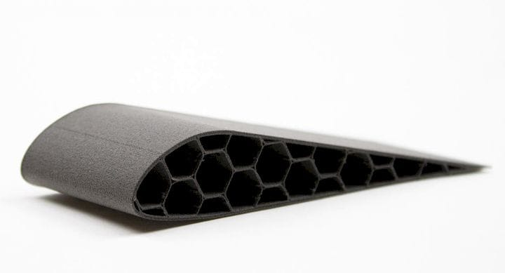 Image of a part 3D printed in a new foaming material [Source: colorFabb]