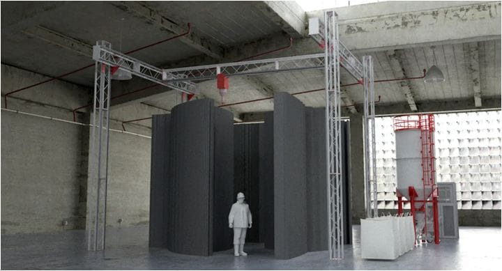 Scale of the COBOD construction 3D printer [Source: COBOD]
