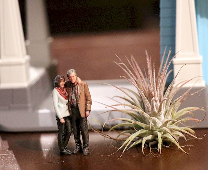 3D printed figurines in a diorama, next to a small houseplant [Source: Twindom]