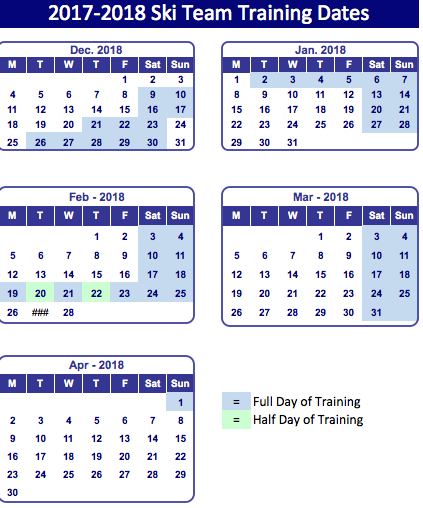 2017-2018 ski team dates